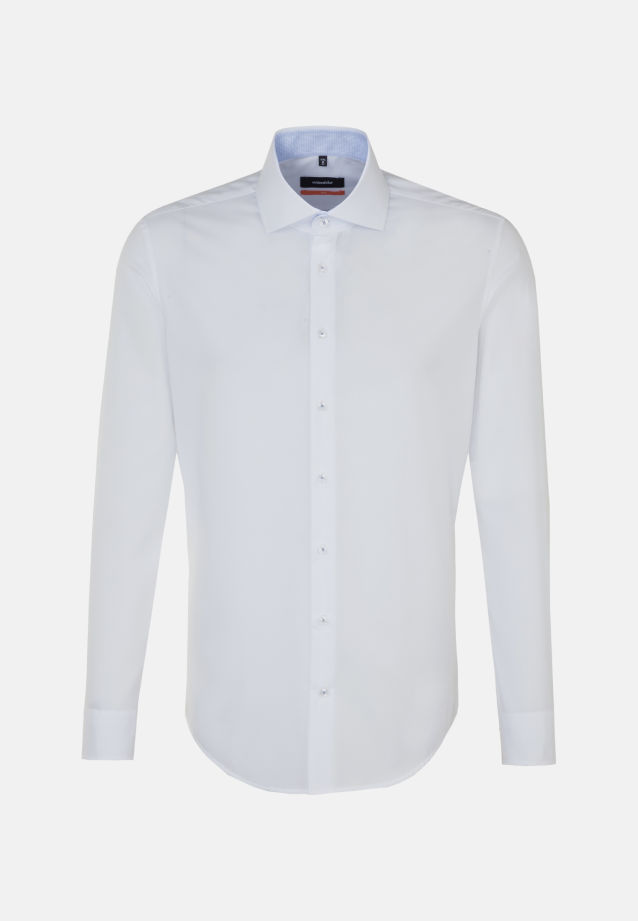 Non-iron Fil a fil Business Shirt in Slim with Kent-Collar in weiß |  Seidensticker Onlineshop