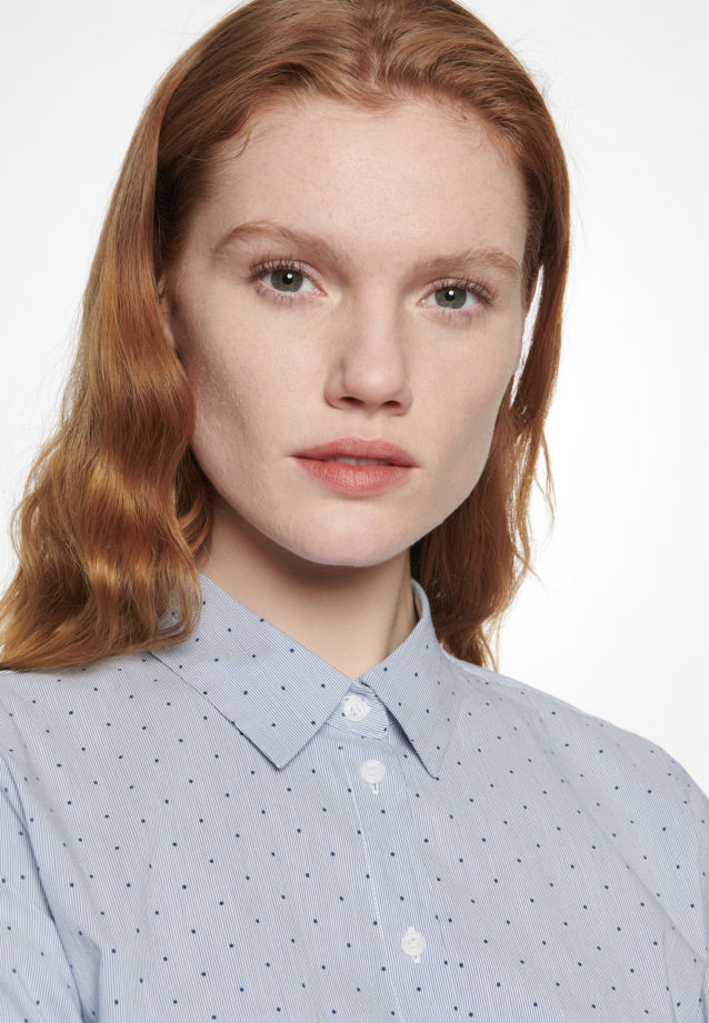 Poplin Shirt Blouse made of 76% Cotton 22% Polyamid/Nylon 2% Elastane in Medium blue |  Seidensticker Onlineshop