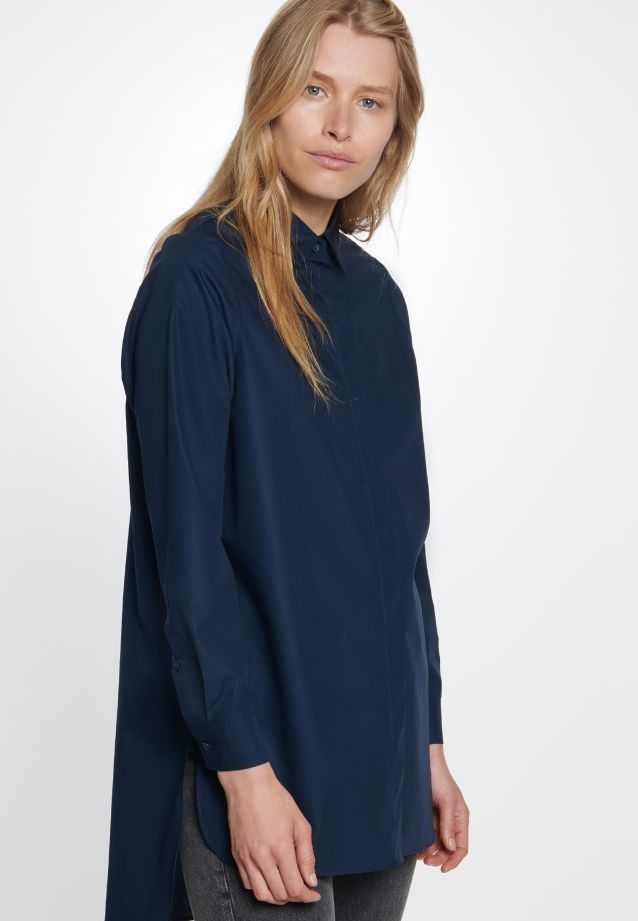 Poplin Long Blouse made of 100% Cotton in Dunkelblau |  Seidensticker Onlineshop