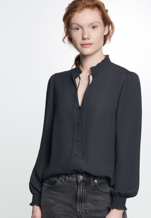Crepe Stand-Up Blouse made of 100% Viscose in Black |  Seidensticker Onlineshop