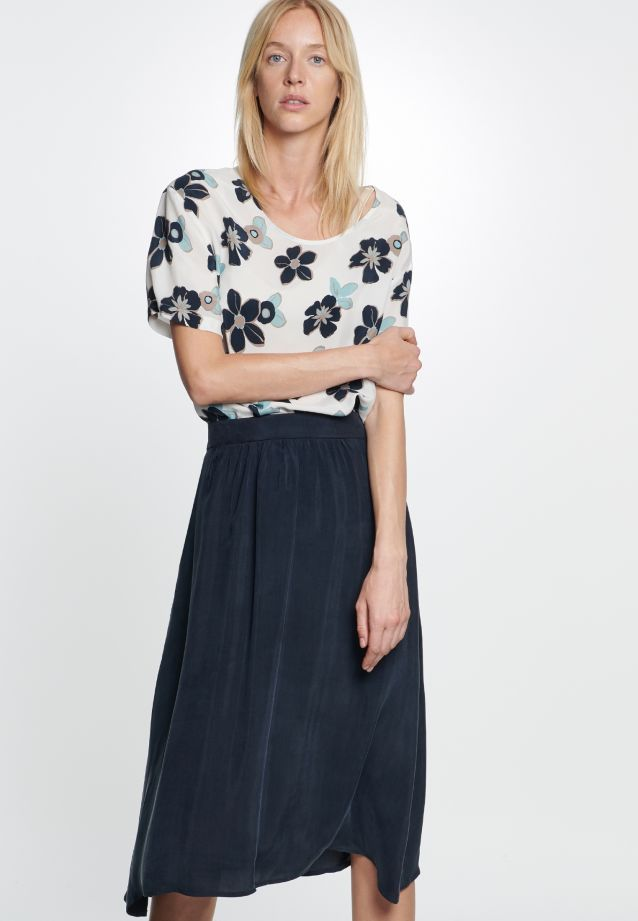 Midi Skirt made of rayon blend in Dark blue |  Seidensticker Onlineshop