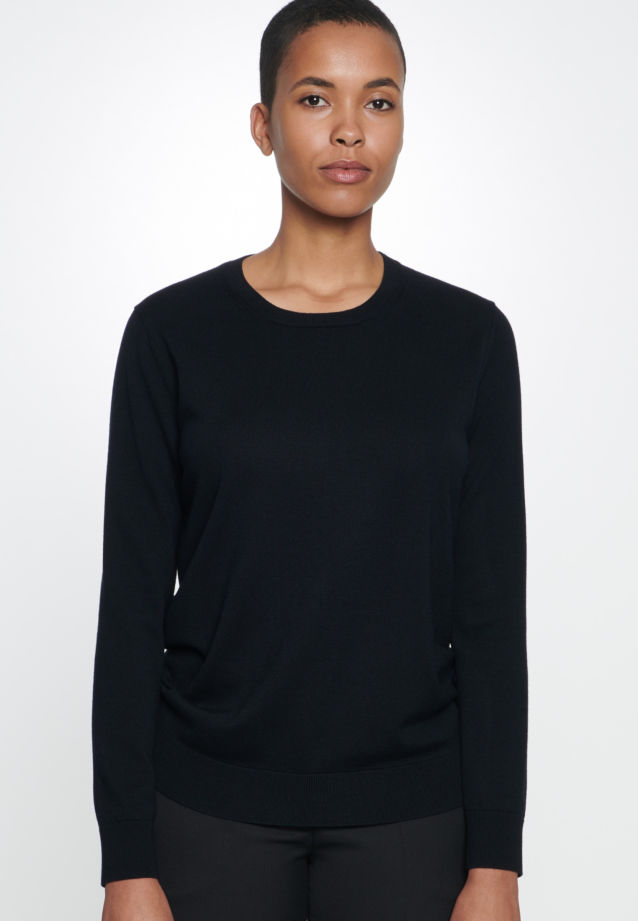 Crew Neck Pullover made of 100% Wolle in black    Seidensticker Onlineshop