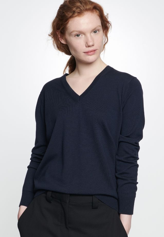 V-Neck Pullover made of 100% Wolle in Dark blue |  Seidensticker Onlineshop