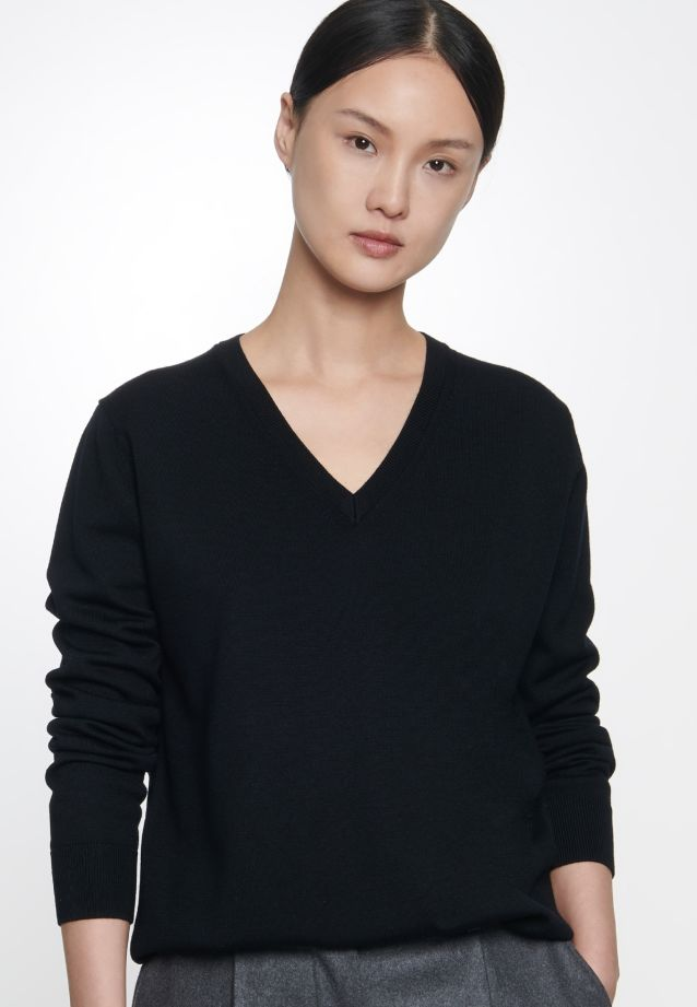 V-Neck Pullover made of 100% Wolle in black    Seidensticker Onlineshop