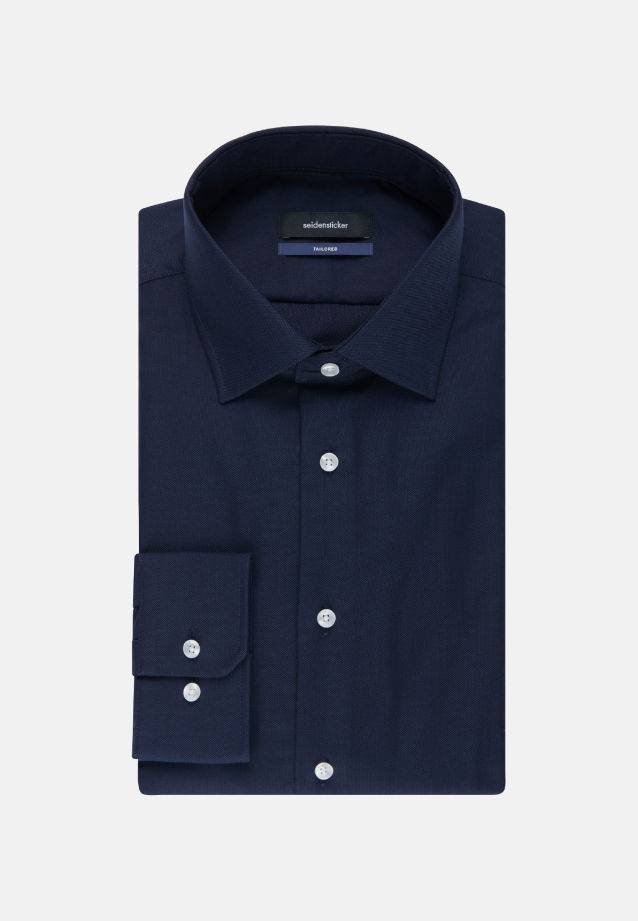 Non-iron Structure Business Shirt in Tailored with Kent-Collar and extra long arm in Dark blue |  Seidensticker Onlineshop