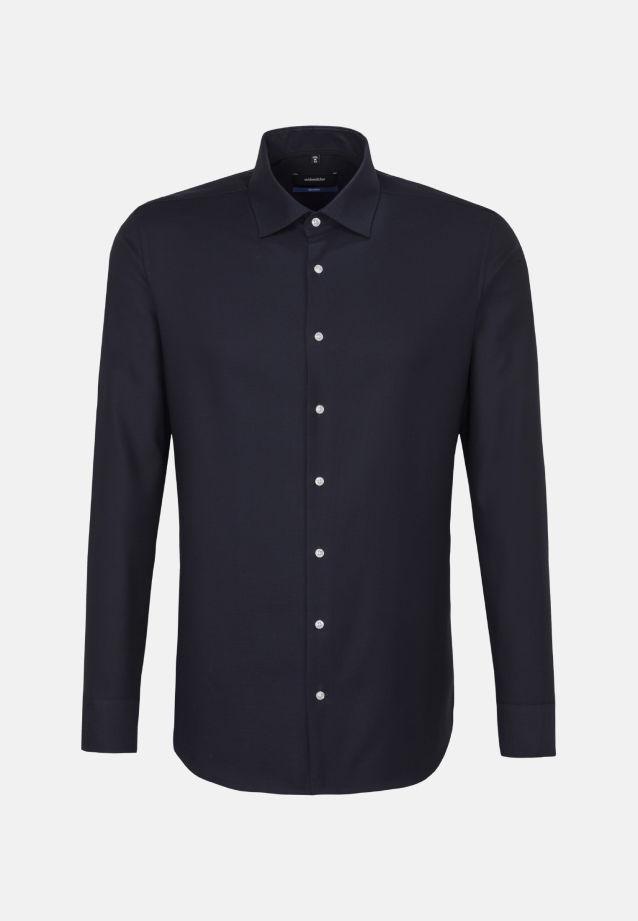 Bügelfreies Struktur Business Hemd in Tailored mit Kentkragen und extra langem Arm in dunkelblau |  Seidensticker Onlineshop