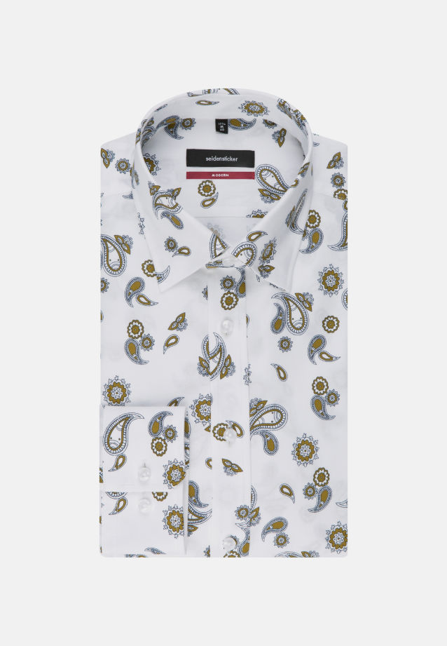 Bügelleichtes Twill Business Hemd in Modern mit Covered-Button-Down-Kragen in gelb |  Seidensticker Onlineshop