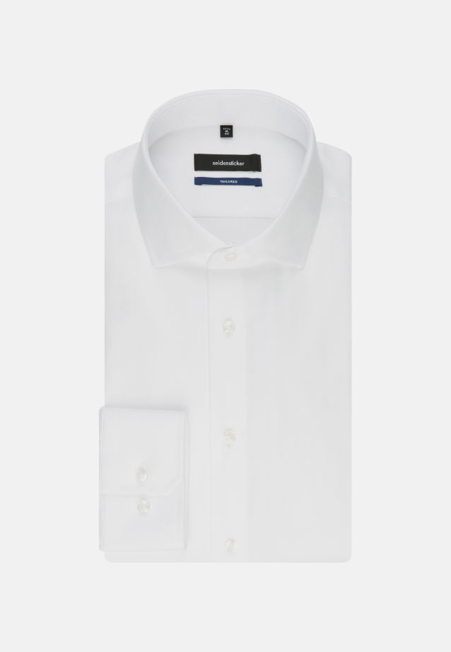 Easy-iron Herringbone pattern Business Shirt in Shaped with Kent-Collar in White |  Seidensticker Onlineshop