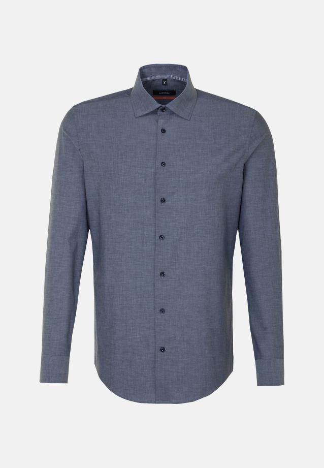 Bügelfreies Chambray Business Hemd in Slim mit Kentkragen und extra langem Arm in mittelblau |  Seidensticker Onlineshop