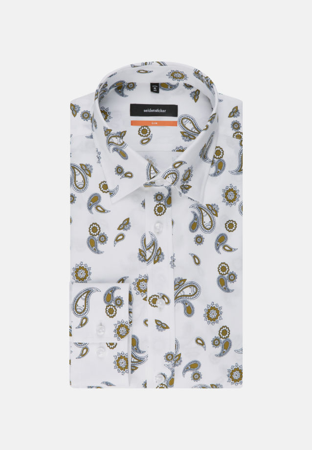 Bügelleichtes Twill Business Hemd in Slim mit Covered-Button-Down-Kragen in Weiß |  Seidensticker Onlineshop