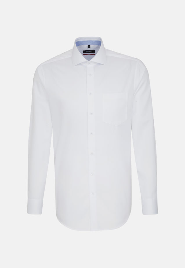 Bügelfreies Twill Business Hemd in Modern mit Kentkragen und extra langem Arm in weiß |  Seidensticker Onlineshop