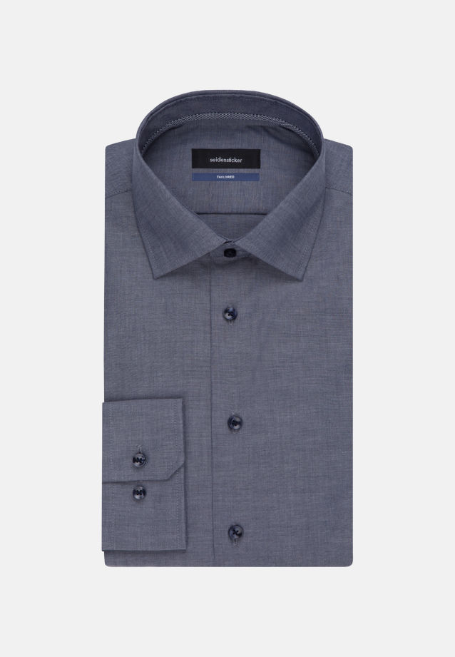 Bügelfreies Chambray Business Hemd in Tailored mit Kentkragen und extra langem Arm in Dunkelblau |  Seidensticker Onlineshop