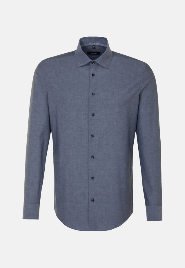 Non-iron Chambray Business Shirt in Tailored with Kent-Collar and extra long arm in Dark blue |  Seidensticker Onlineshop