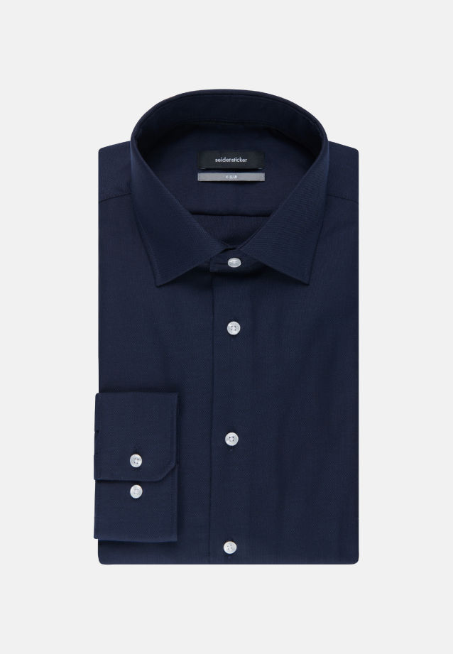 Non-iron Structure Business Shirt in X-Slim with Kent-Collar in dunkelblau |  Seidensticker Onlineshop