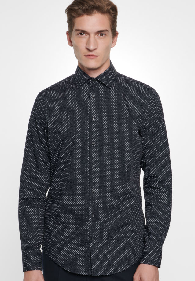 Easy-iron Poplin Business Shirt in Slim with Kent-Collar in Black |  Seidensticker Onlineshop