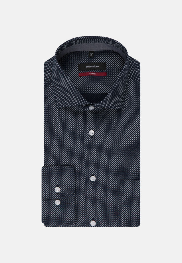 Easy-iron Poplin Business Shirt in Regular with Kent-Collar and extra long arm in Dark blue |  Seidensticker Onlineshop