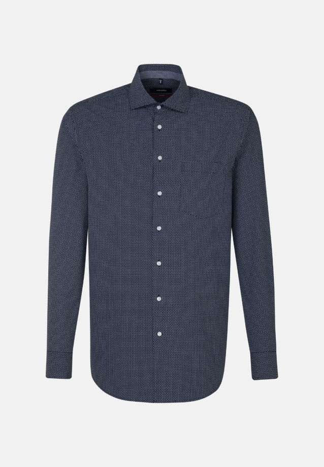 Easy-iron Poplin Business Shirt in Modern with Kent-Collar and extra long arm in Dark blue |  Seidensticker Onlineshop