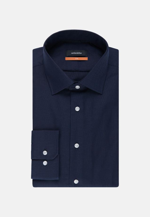 Bügelfreies Struktur Business Hemd in Slim mit Kentkragen und extra langem Arm in dunkelblau |  Seidensticker Onlineshop