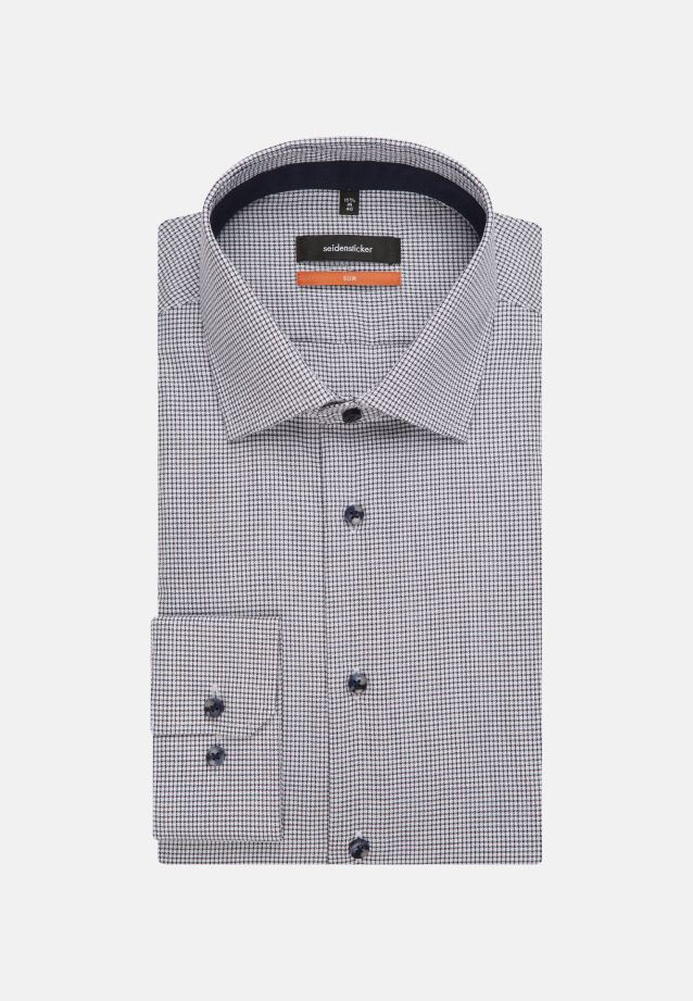 Non-iron Twill Business Shirt in Slim with Kent-Collar in Dark blue    Seidensticker Onlineshop