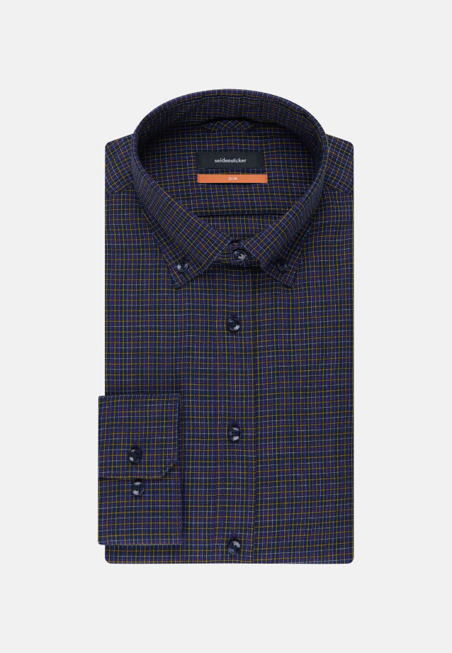 Bügelleichtes Twill Business Hemd in Slim mit Button-Down-Kragen in Lila |  Seidensticker Onlineshop