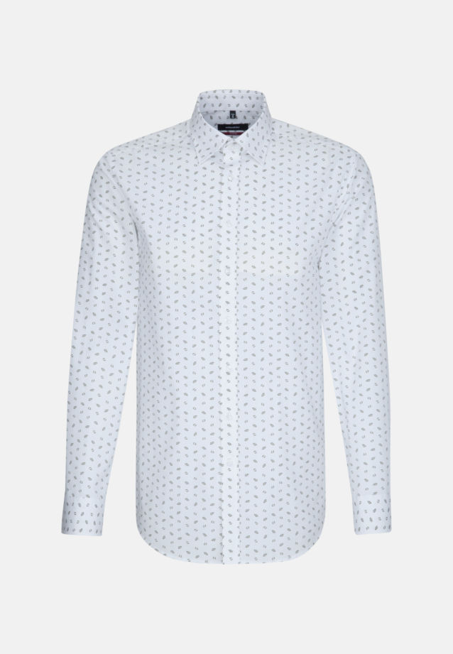 Bügelleichtes Popeline Business Hemd in Modern mit Covered-Button-Down-Kragen in Grün |  Seidensticker Onlineshop