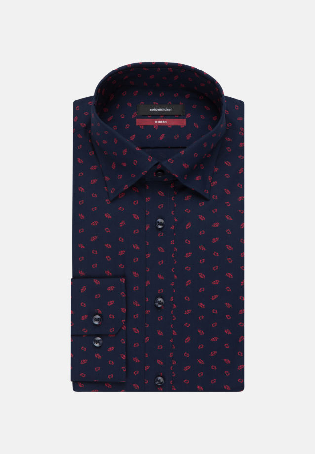 Easy-iron Poplin Business Shirt in Regular with Covered-Button-Down-Collar in Dark blue |  Seidensticker Onlineshop