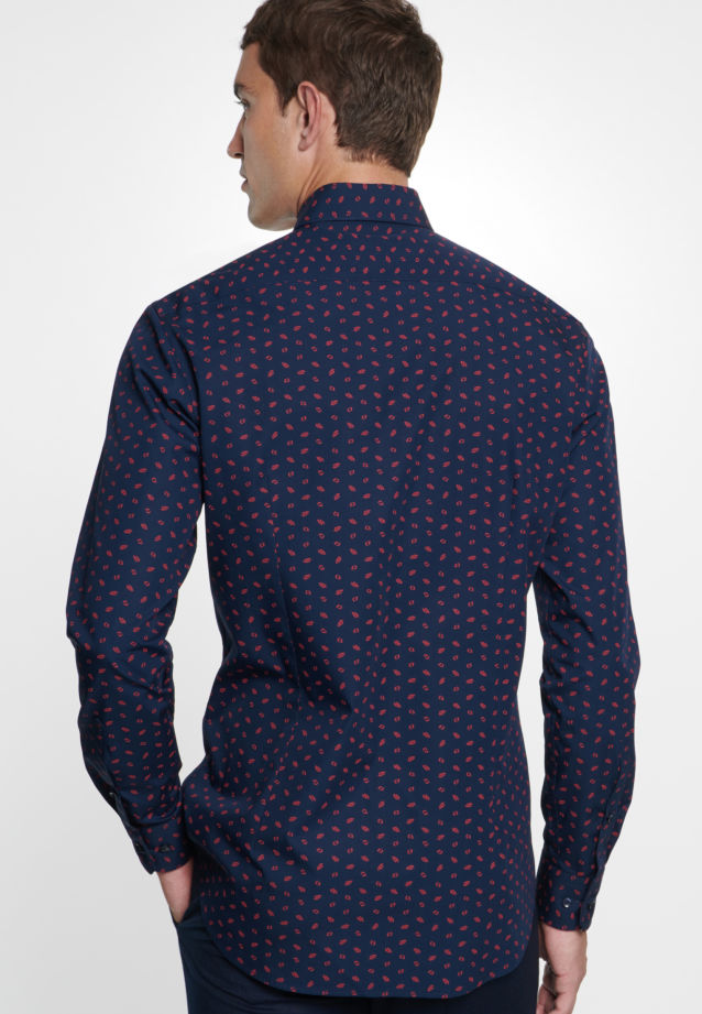 Bügelleichtes Popeline Business Hemd in Tailored mit Covered-Button-Down-Kragen in Rot |  Seidensticker Onlineshop