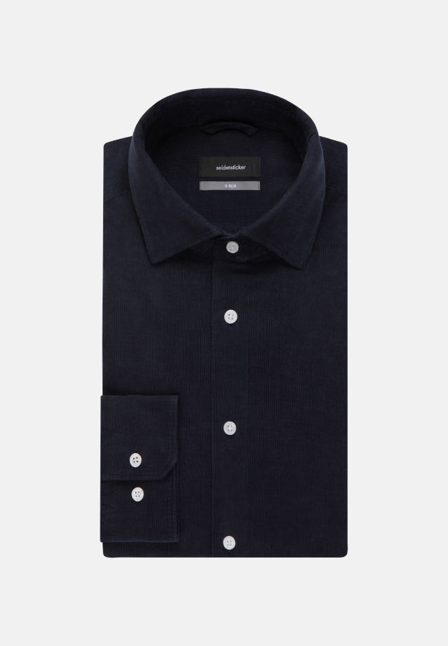Easy-iron Corduroy Business Shirt in X-Slim with Kent-Collar in Dark blue |  Seidensticker Onlineshop