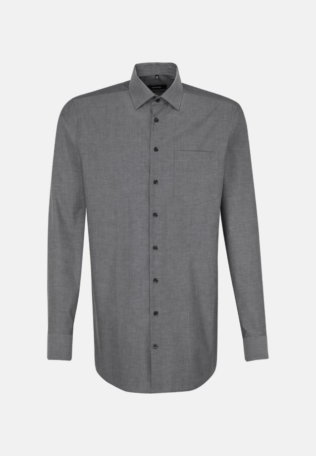 Non-iron Chambray Business Shirt in Comfort with Kent-Collar and extra long sleeve in Grey |  Seidensticker Onlineshop