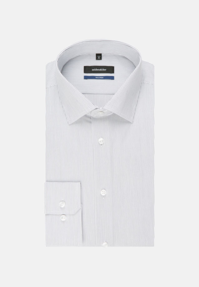 Non-iron Poplin Business Shirt in Tailored with Kent-Collar and extra long arm in Grey |  Seidensticker Onlineshop