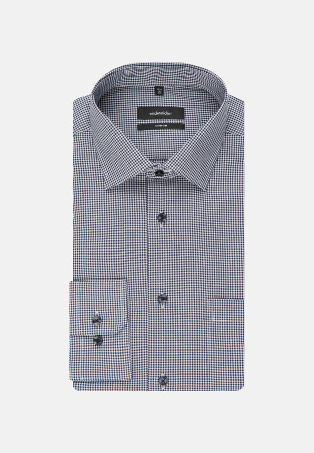 Non-iron Poplin Business Shirt in Comfort with Kent-Collar and extra long arm in Dark blue |  Seidensticker Onlineshop