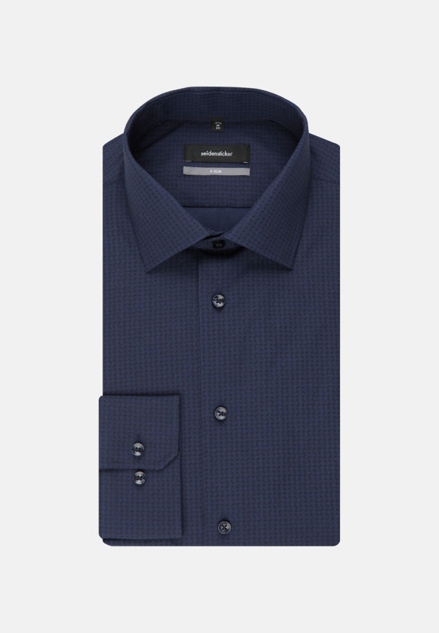 Easy-iron Poplin Business Shirt in X-Slim with Kent-Collar and extra long arm in Dark blue |  Seidensticker Onlineshop