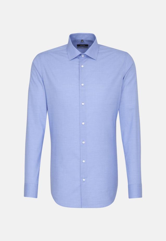 Bügelleichtes Struktur Business Hemd in X-Slim mit Kentkragen und extra langem Arm in blau |  Seidensticker Onlineshop