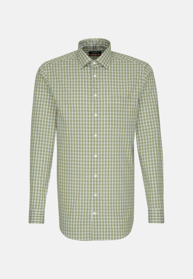 Non-iron Poplin Business Shirt in Modern with Kent-Collar and extra long arm in Green |  Seidensticker Onlineshop