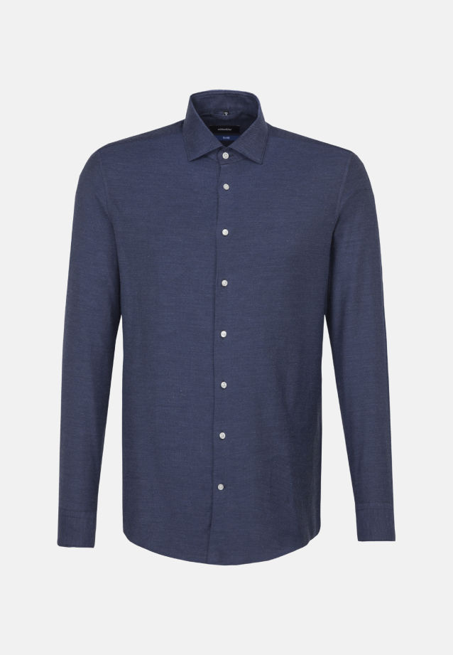Easy-iron Twill Business Shirt in Tailored with Kent-Collar in Medium blue |  Seidensticker Onlineshop