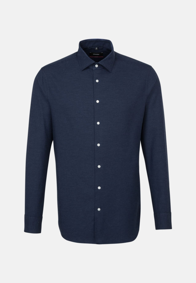 Easy-iron Twill Business Shirt in Modern with Kent-Collar in Dark blue |  Seidensticker Onlineshop