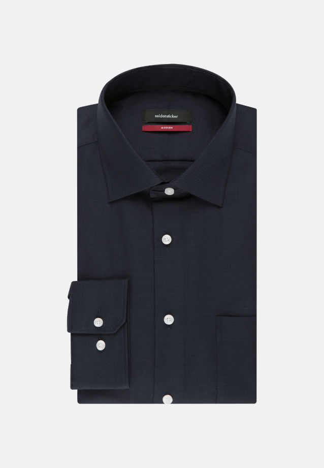 Non-iron Structure Business Shirt in Modern with Kent-Collar and extra long arm in Dark blue |  Seidensticker Onlineshop