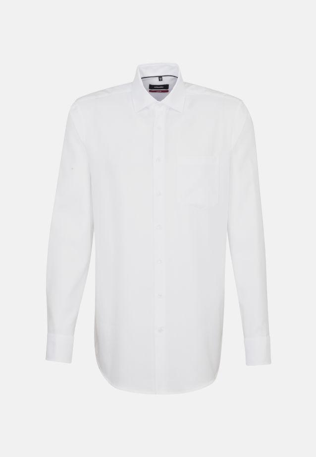 Bügelfreies Struktur Business Hemd in Modern mit Kentkragen und extra langem Arm in weiß |  Seidensticker Onlineshop