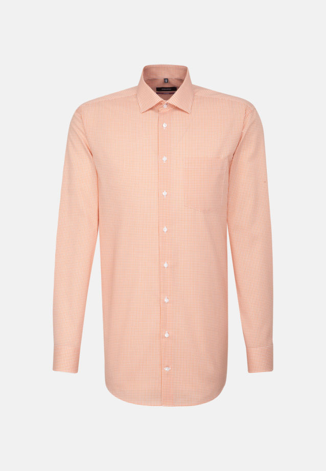 Non-iron Poplin Business Shirt in Regular with Kent-Collar and extra long arm in Orange |  Seidensticker Onlineshop