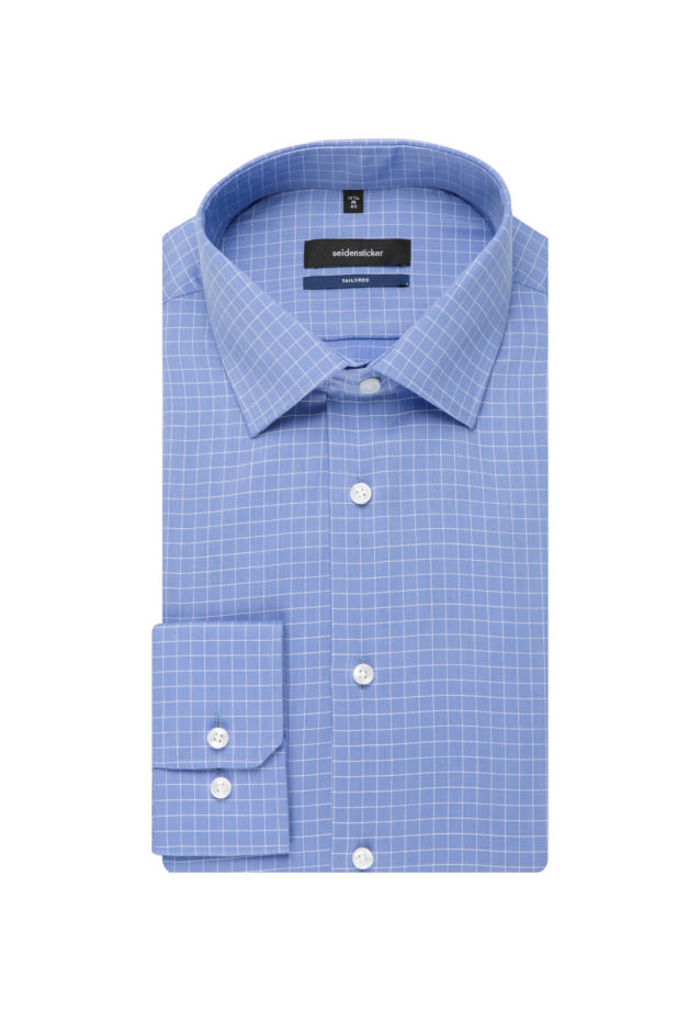 Easy-iron Structure Business Shirt in Tailored with Kent-Collar and extra long arm in Light blue |  Seidensticker Onlineshop