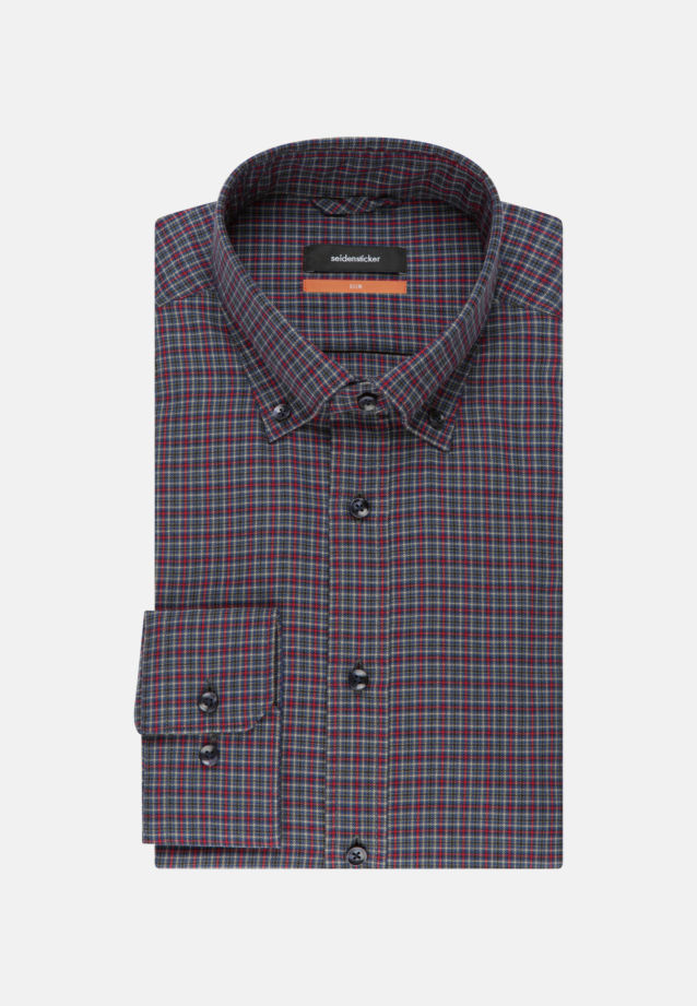Bügelleichtes Twill Business Hemd in Slim mit Button-Down-Kragen in Rot |  Seidensticker Onlineshop