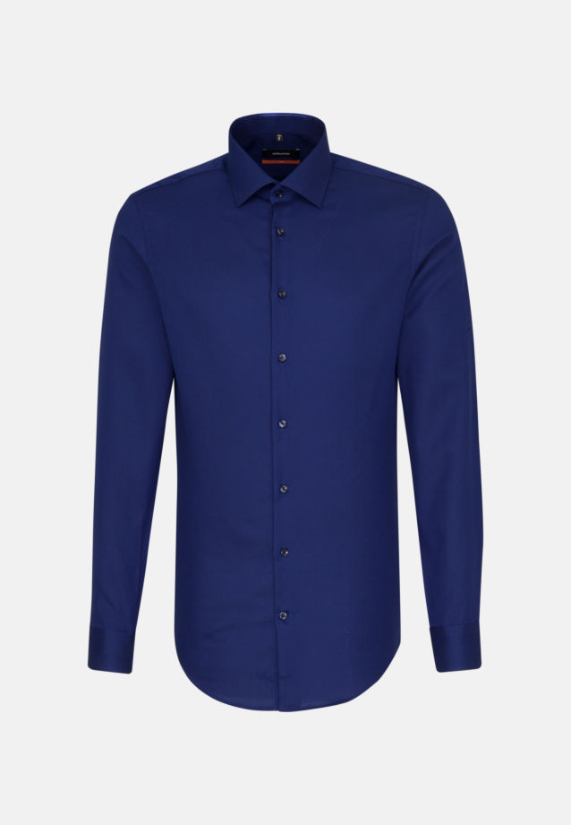 Easy-iron Structure Business Shirt in Slim with Kent-Collar and extra long arm in Medium blue |  Seidensticker Onlineshop