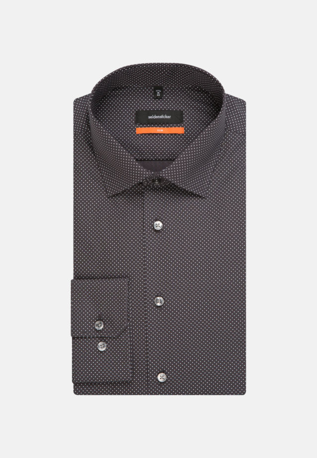 Easy-iron Poplin Business Shirt in Slim with Kent-Collar and extra short arm in Grey |  Seidensticker Onlineshop