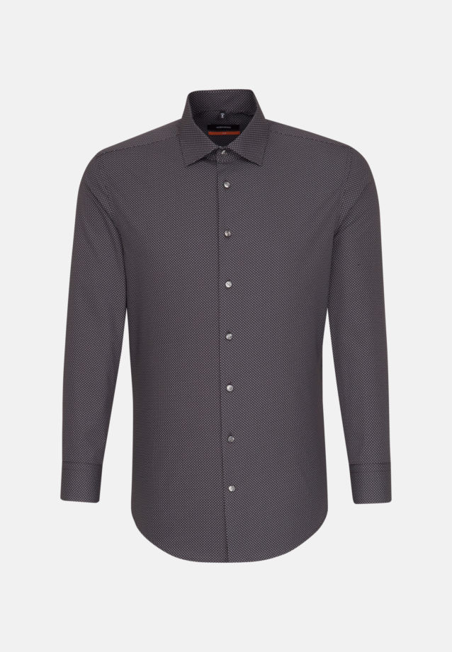 Easy-iron Poplin Business Shirt in Slim with Kent-Collar and extra short sleeve in Grey |  Seidensticker Onlineshop