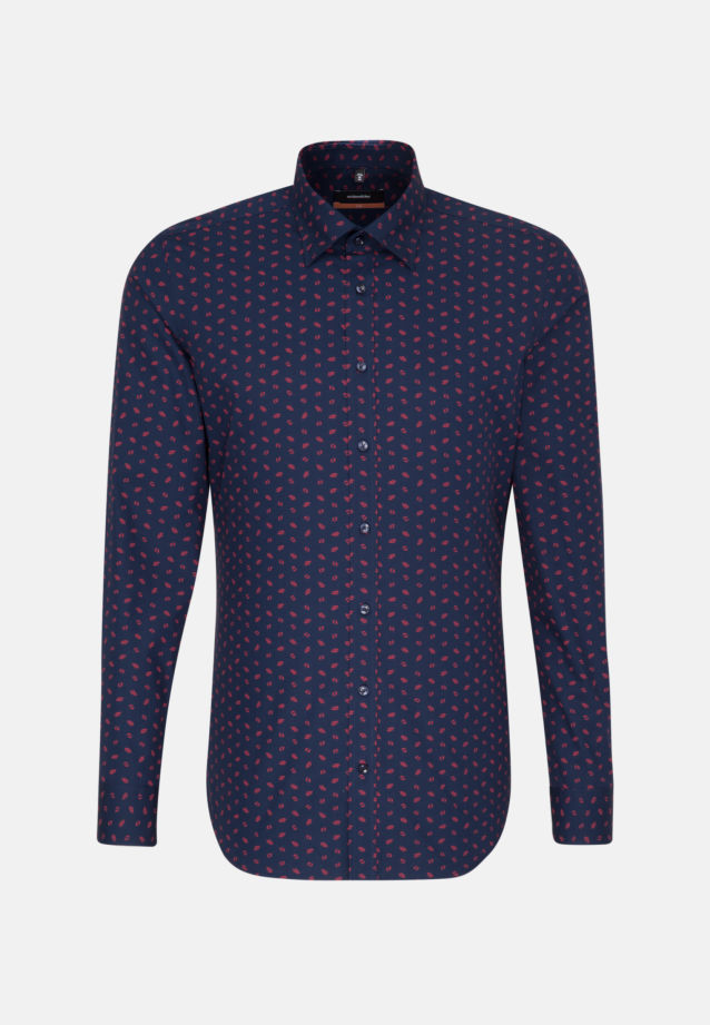 Easy-iron Poplin Business Shirt in Slim with Covered-Button-Down-Collar in Dark blue |  Seidensticker Onlineshop