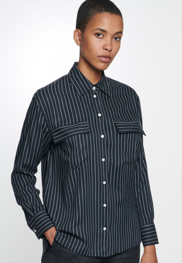 Twill Shirt Blouse made of 100% Viskose in Black |  Seidensticker Onlineshop