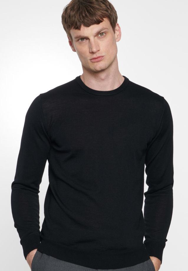 Crew Neck Pullover made of 100% Wolle in schwarz    Seidensticker Onlineshop