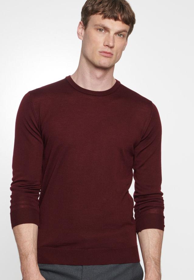 Crew Neck Pullover made of 100% Wolle in burgund    Seidensticker Onlineshop