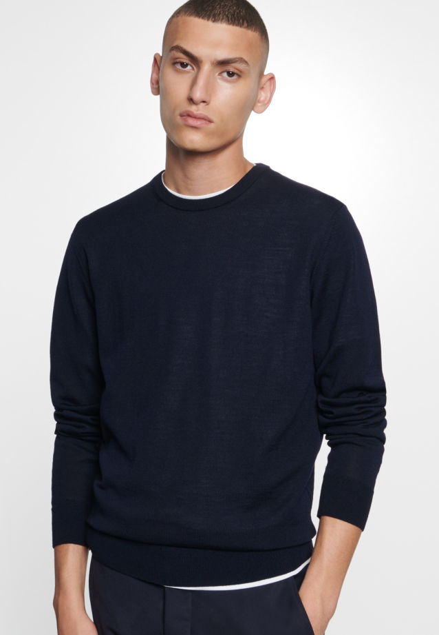 Crew Neck Pullover made of 100% Wolle in Dark blue |  Seidensticker Onlineshop