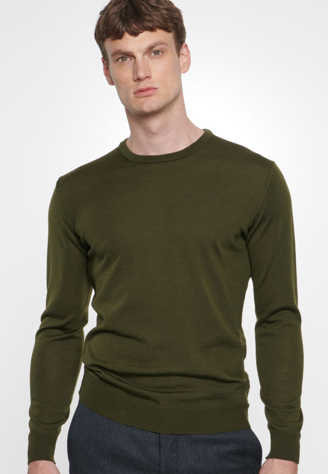 Crew Neck Pullover made of 100% Wolle in Green |  Seidensticker Onlineshop